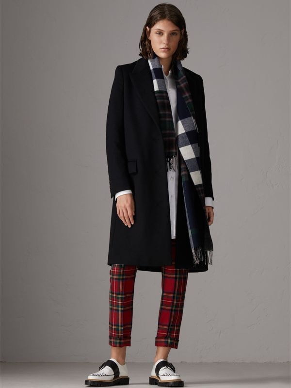 Check Merino Wool Scarf in Navy | Burberry - cell image 2