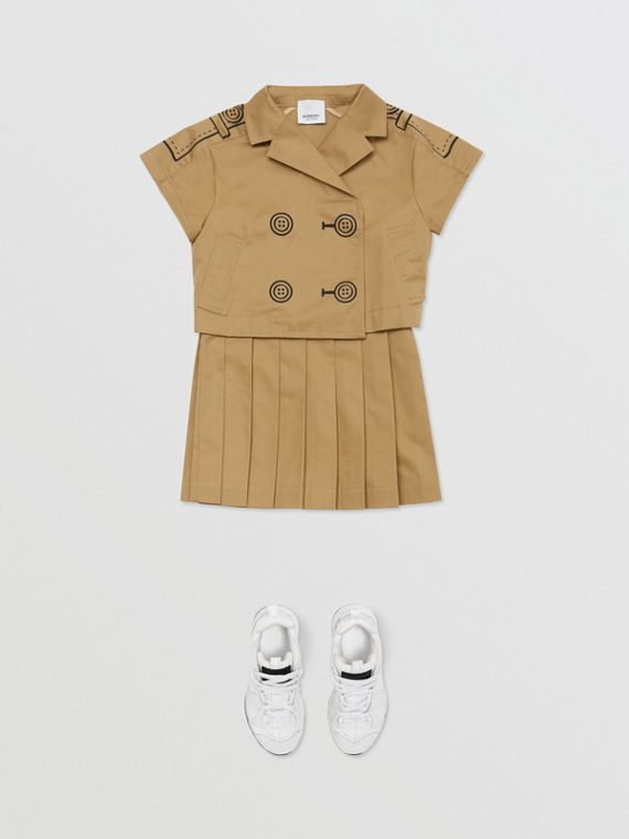 Trompe L'Oeil Cotton Trench Dress Two-piece Set in Honey