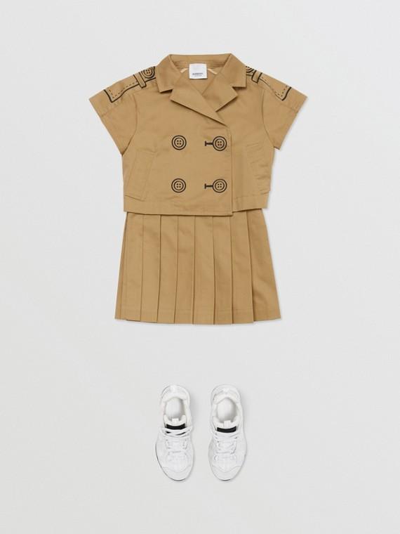 Conjunto de duas peças com vestido estilo trench de algodão com estampa Trompe L'Oeil (Mel)