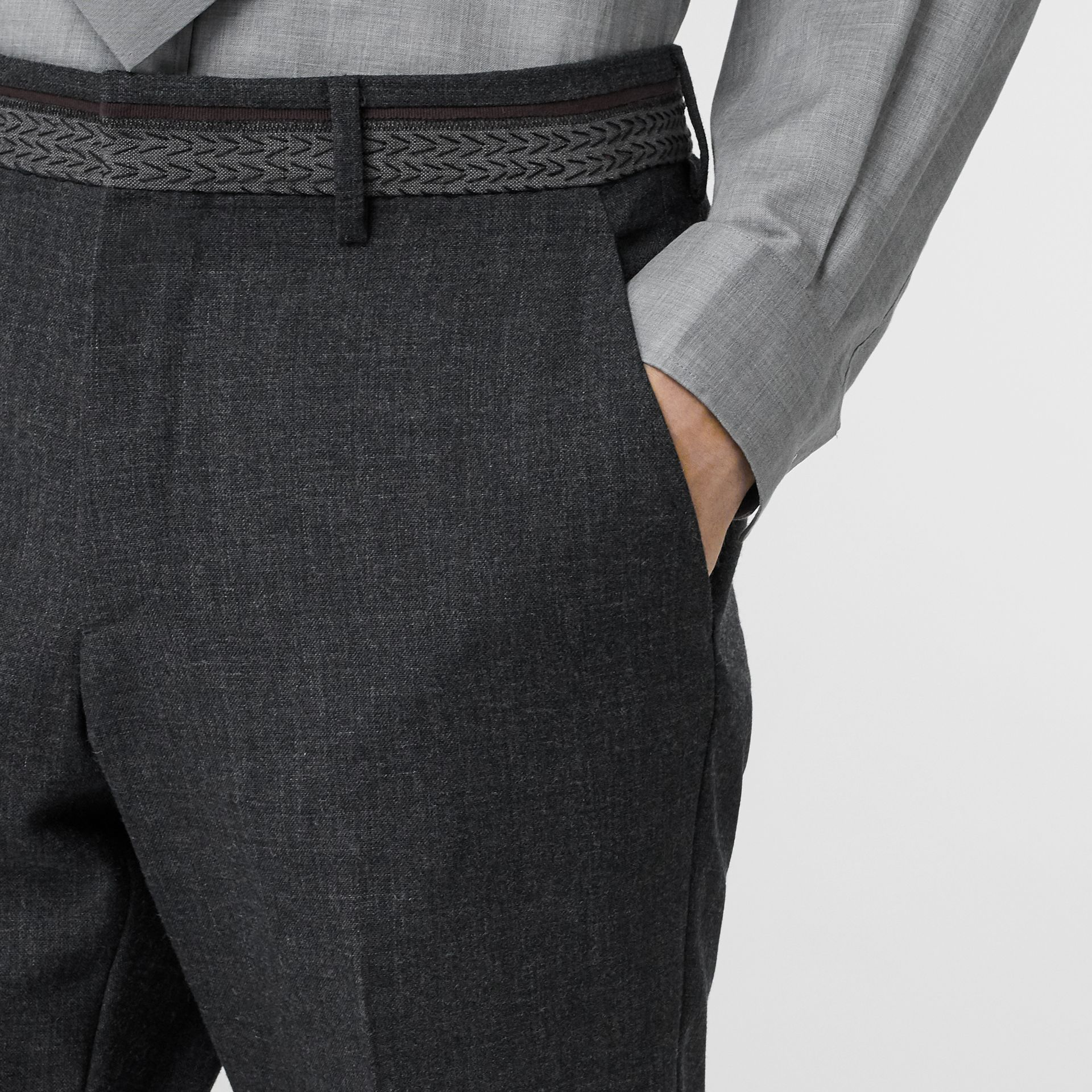 Classic Fit Wool Tailored Trousers in Dark Grey | Burberry Singapore - gallery image 6