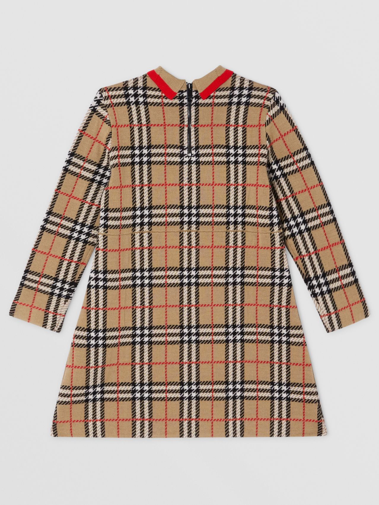 Long-sleeve Check Merino Wool Jacquard Dress in Archive Beige
