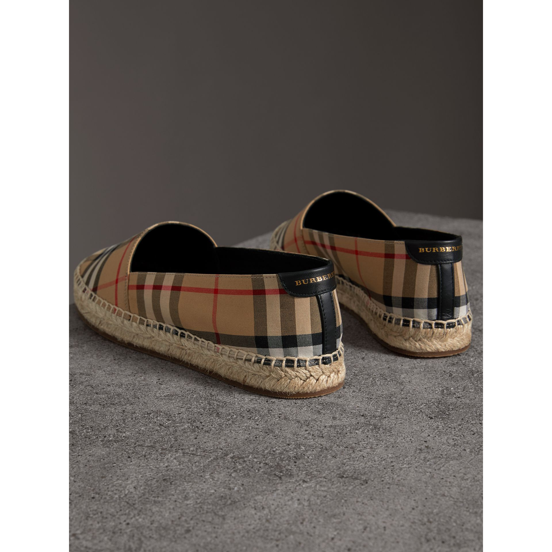Vintage Check and Leather Espadrilles in Antique Yellow - Women | Burberry Singapore - gallery image 2