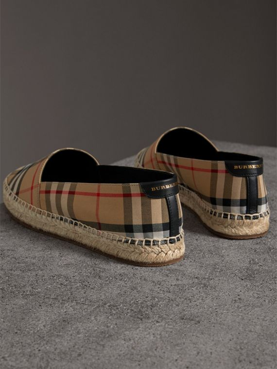 Vintage Check and Leather Espadrilles in Antique Yellow - Women | Burberry - cell image 3