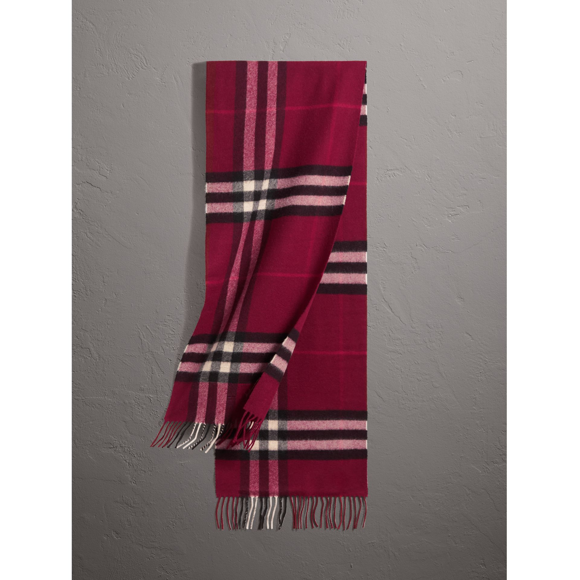 The Classic Check Cashmere Scarf in Plum | Burberry - gallery image 1