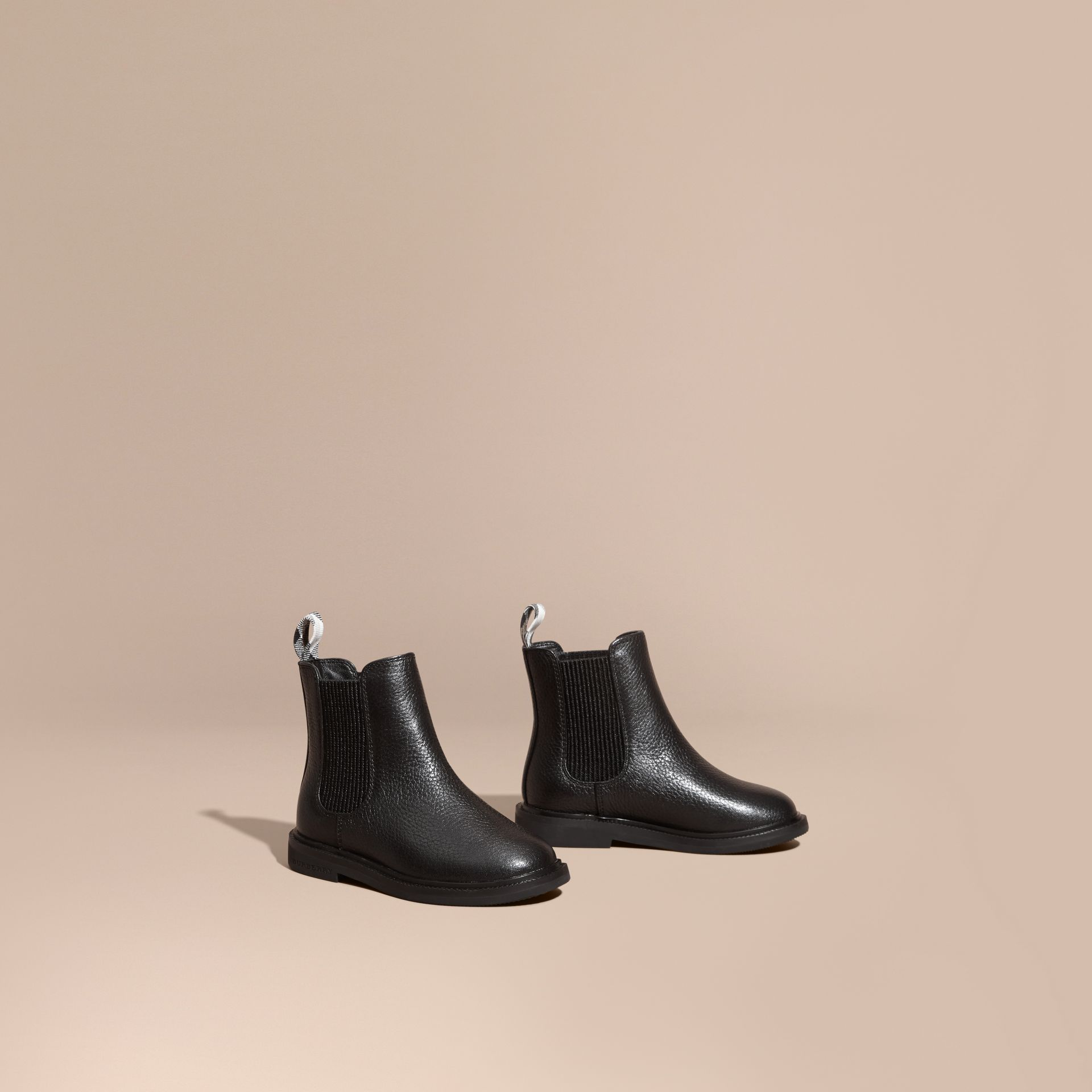 Black Grainy Leather Chelsea Boots - gallery image 1