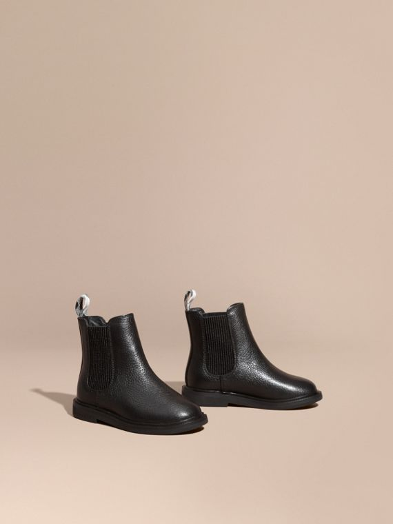 Grainy Leather Chelsea Boots