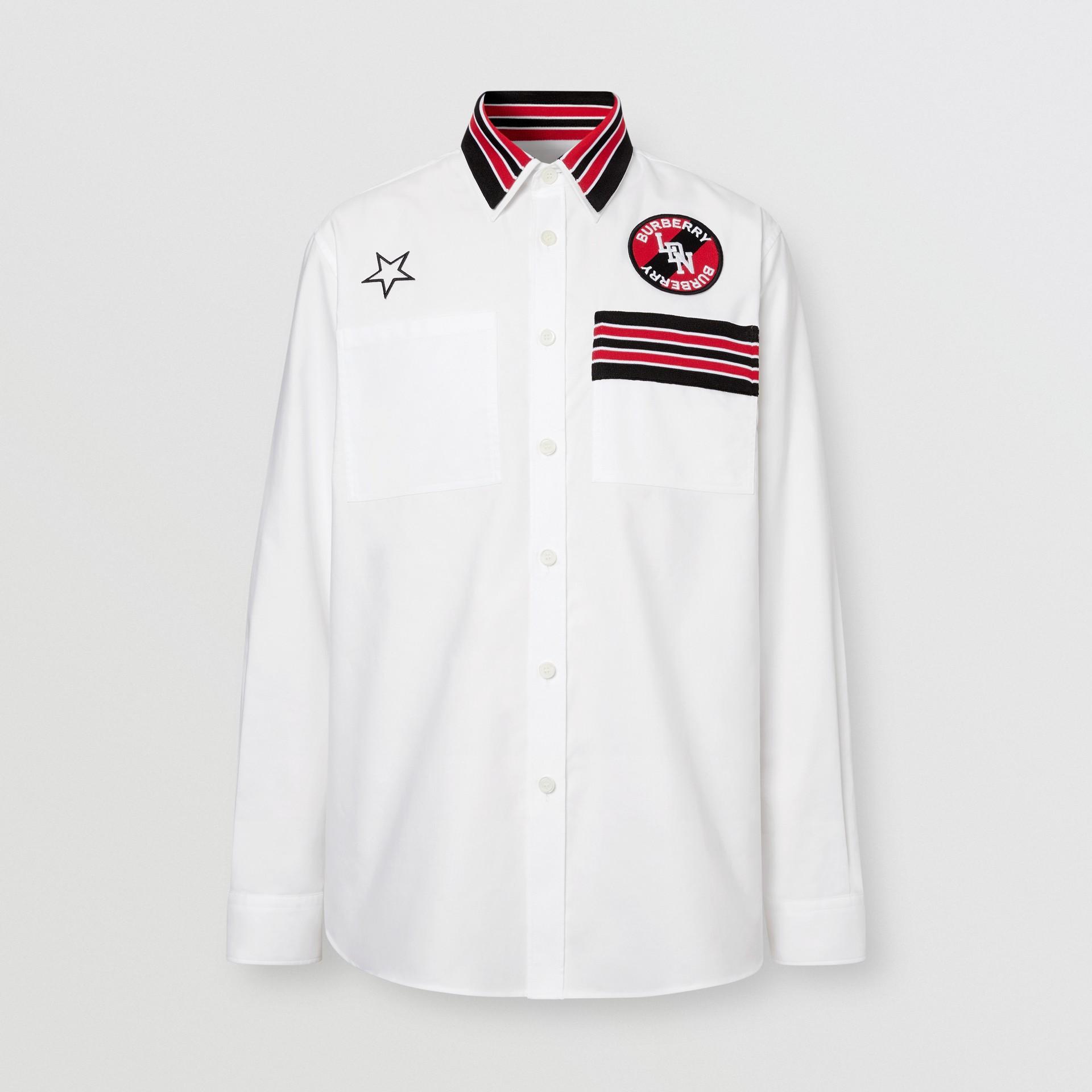 Camicia Oxford oversize in cotone con logo (Bianco) - Uomo | Burberry - immagine della galleria 3