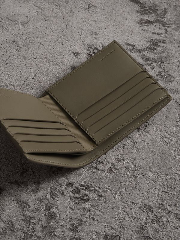 Trench Leather International Bifold Wallet in Slate Green - Men | Burberry - cell image 3