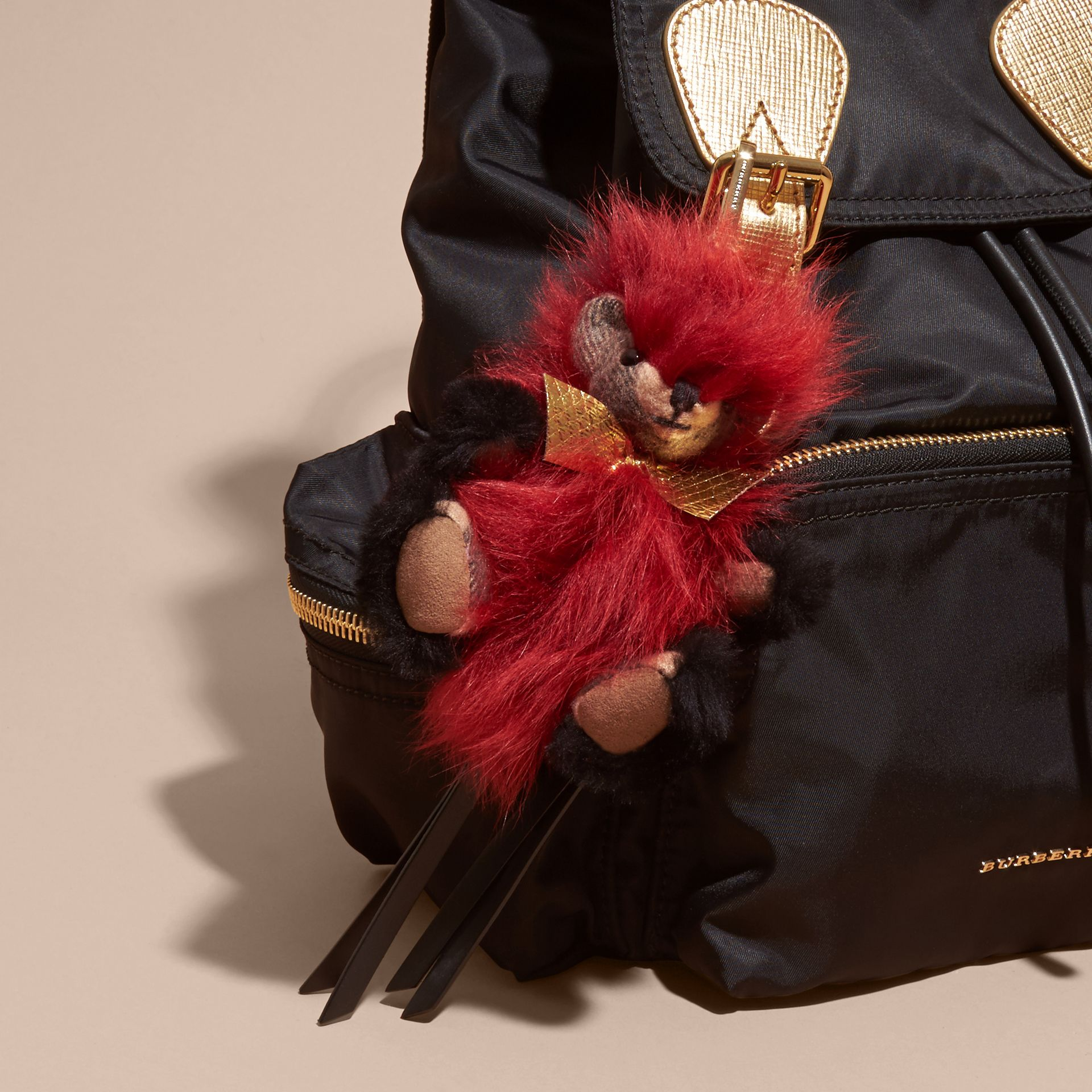 Thomas Bear Pom-Pom Charm in Check Cashmere in Parade Red | Burberry Australia - gallery image 3