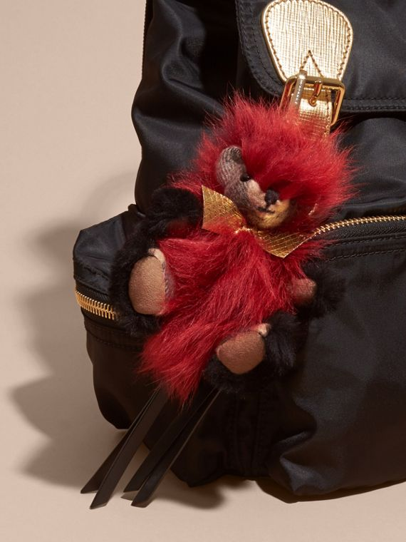 Thomas Bear Pom-Pom Charm in Check Cashmere in Parade Red | Burberry Australia - cell image 2