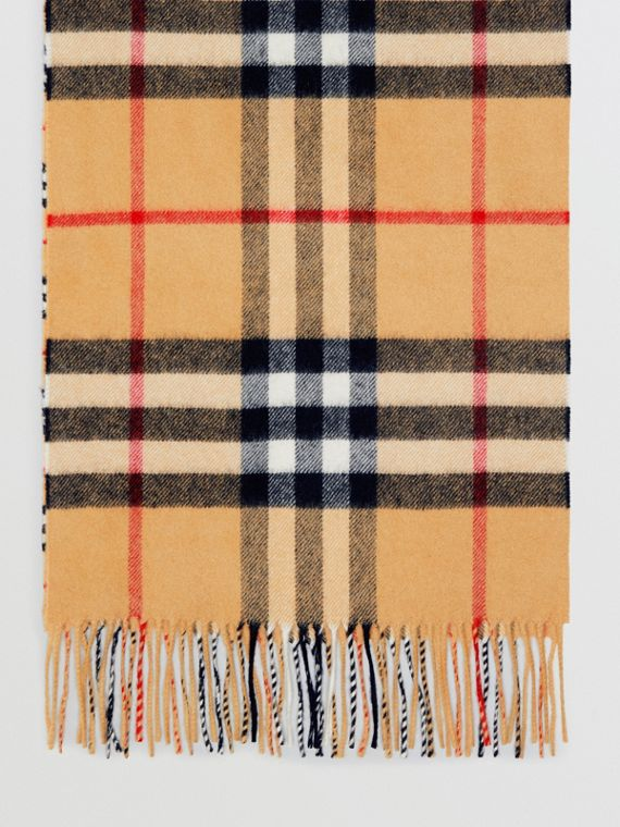Gosha x Burberry Check Cashmere Double Scarf in Antique Yellow