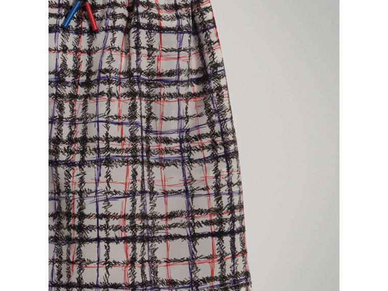 Scribble Check Gathered Silk Skirt in Black/white - Girl | Burberry - cell image 1