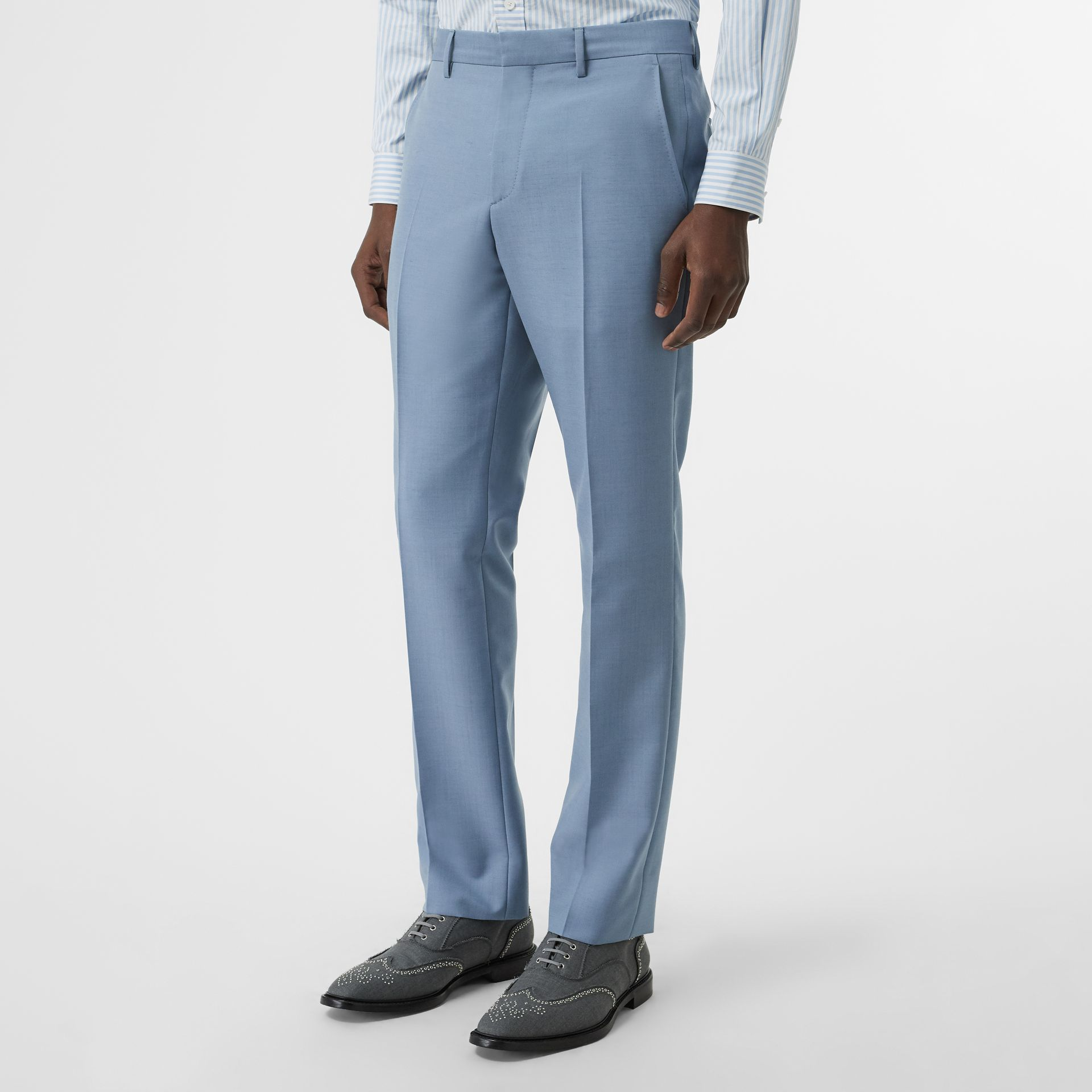 Classic Fit Wool Tailored Trousers in Pale Blue - Men | Burberry - gallery image 4