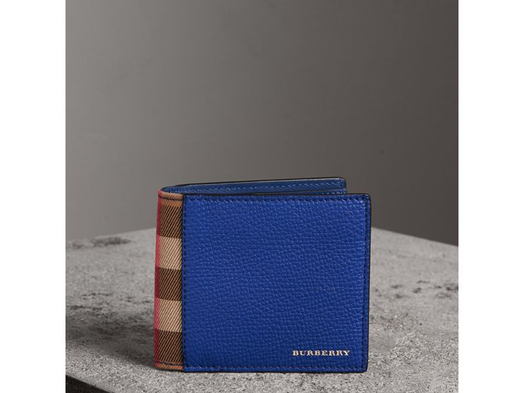 Leather and House Check International Bifold Wallet in Deep Blue | Burberry - cell image 4