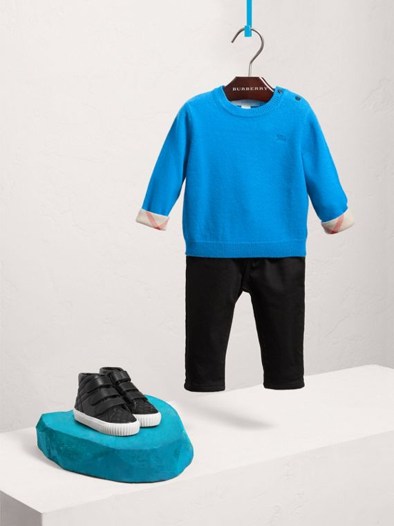 Check Cuff Cashmere Sweater in Cyan Blue | Burberry - cell image 2