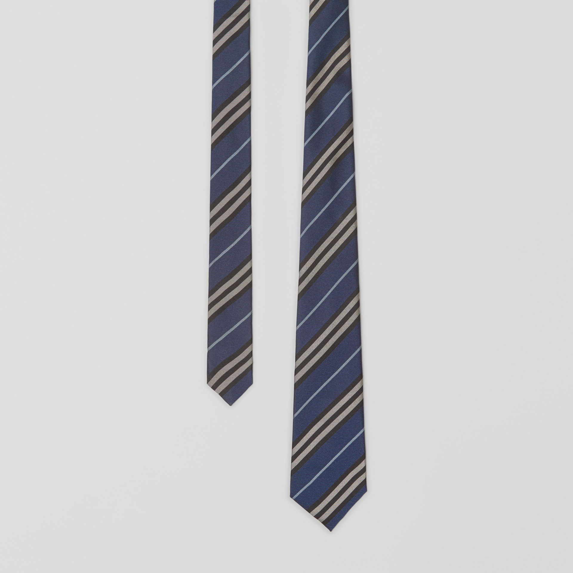 Modern Cut Striped Silk Jacquard Tie in Steel Blue - Men | Burberry - gallery image 0