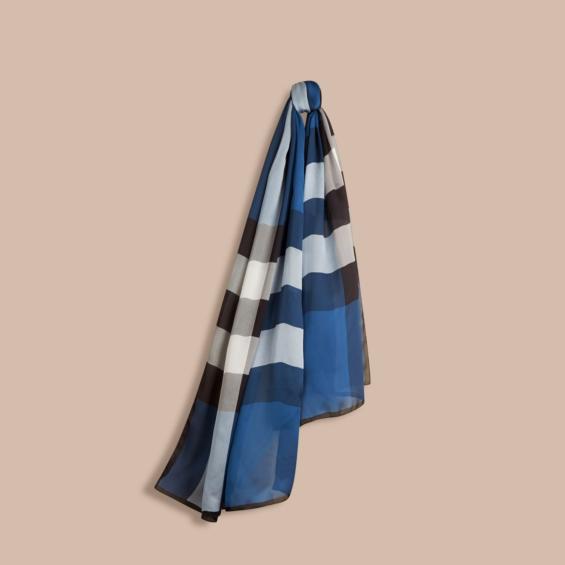 Cadet blue Lightweight Check Silk Scarf Cadet Blue - gallery image 1