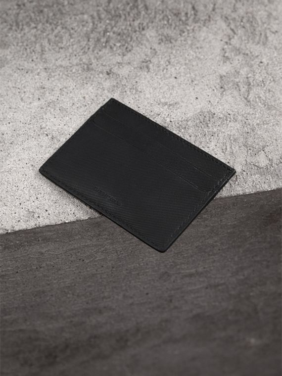 Trench Leather Card Case in Black - Men | Burberry Australia - cell image 2
