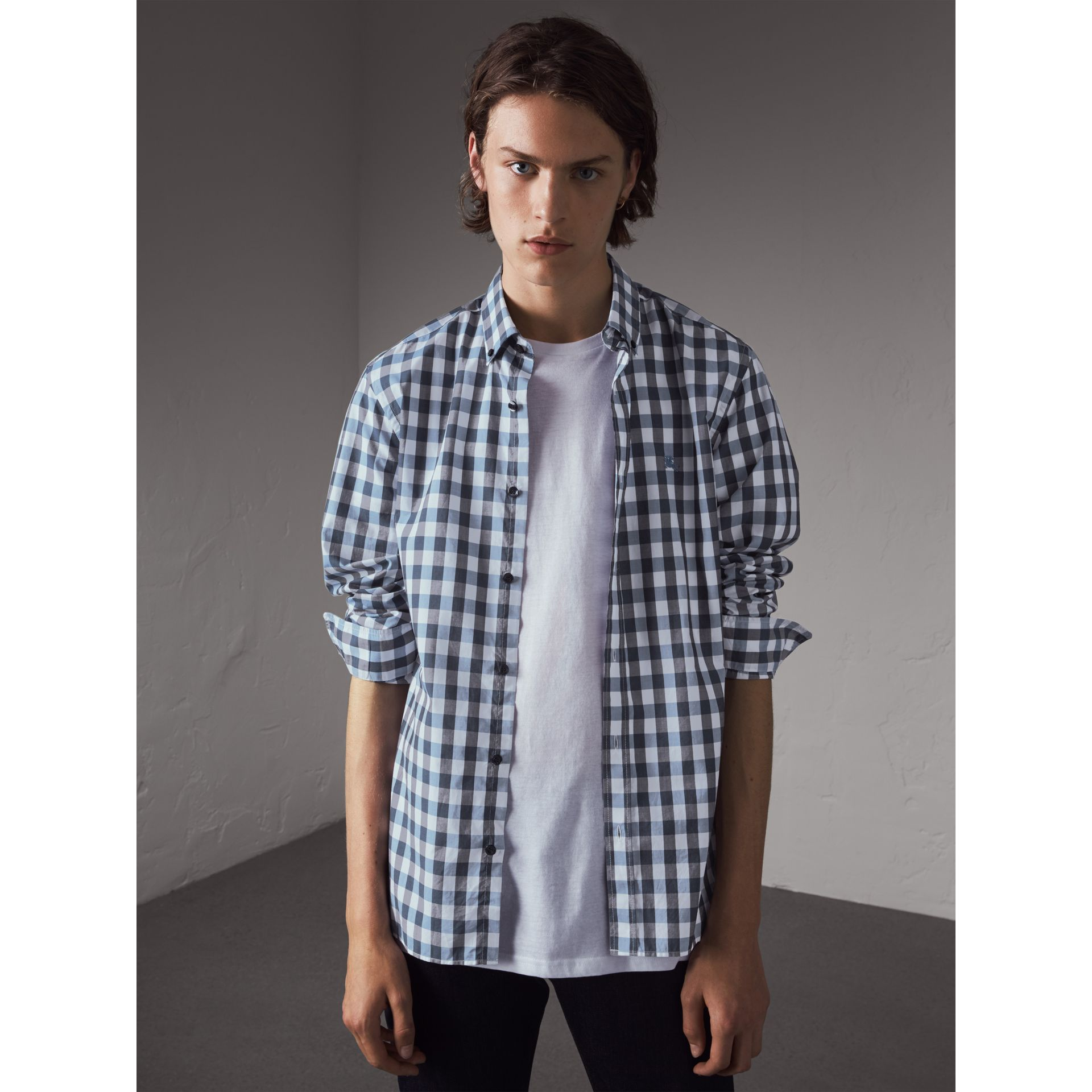 Button-down Collar Gingham Cotton Shirt in Mineral Blue - Men | Burberry - gallery image 1