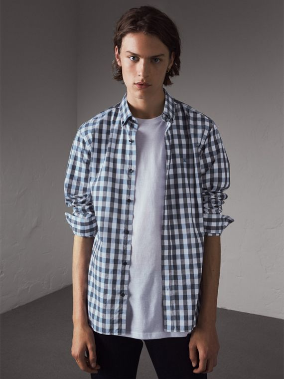 Button-down Collar Gingham Cotton Shirt in Mineral Blue - Men | Burberry Hong Kong
