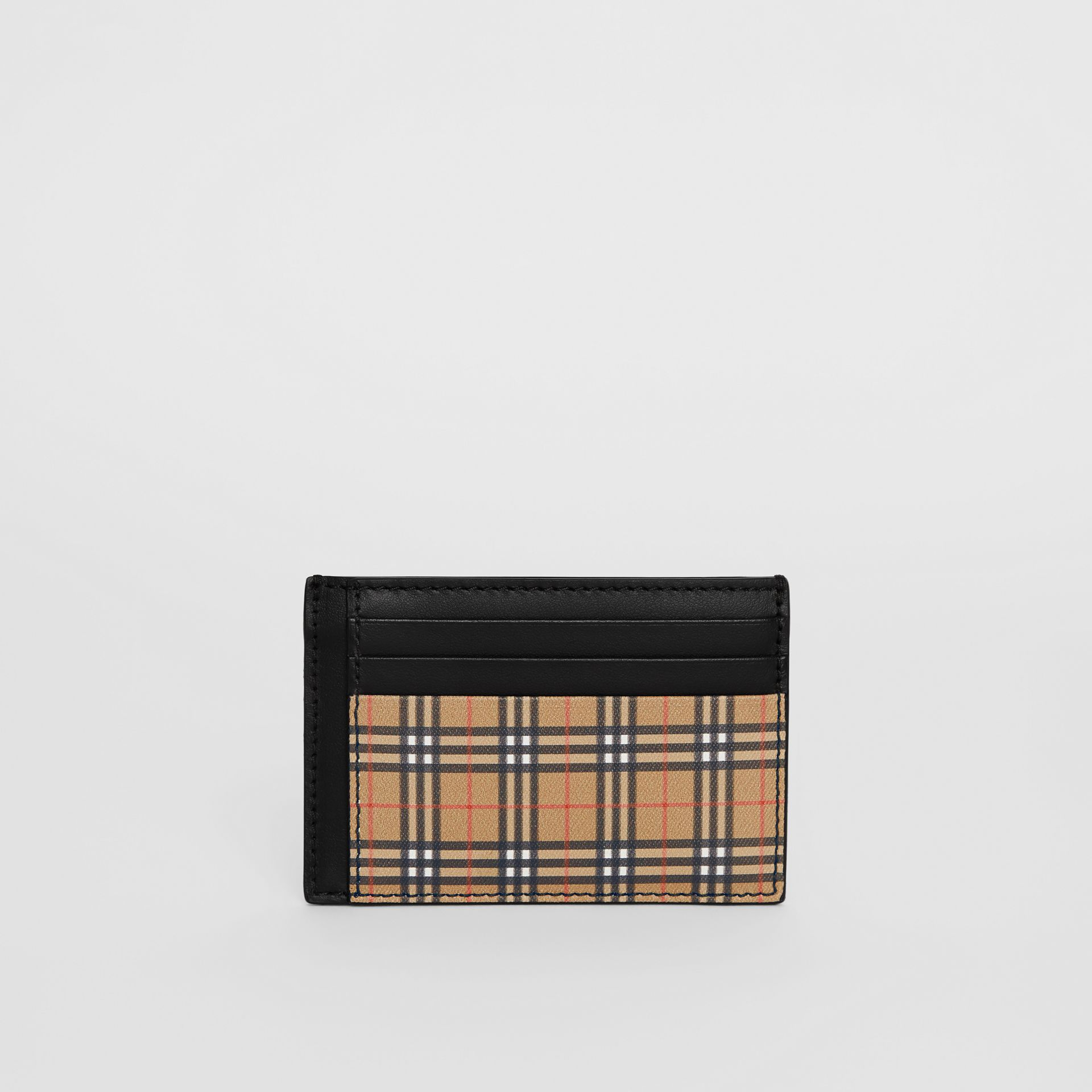 Small Scale Check and Leather Money Clip Card Case in Antique Yellow/black - Men | Burberry - gallery image 2