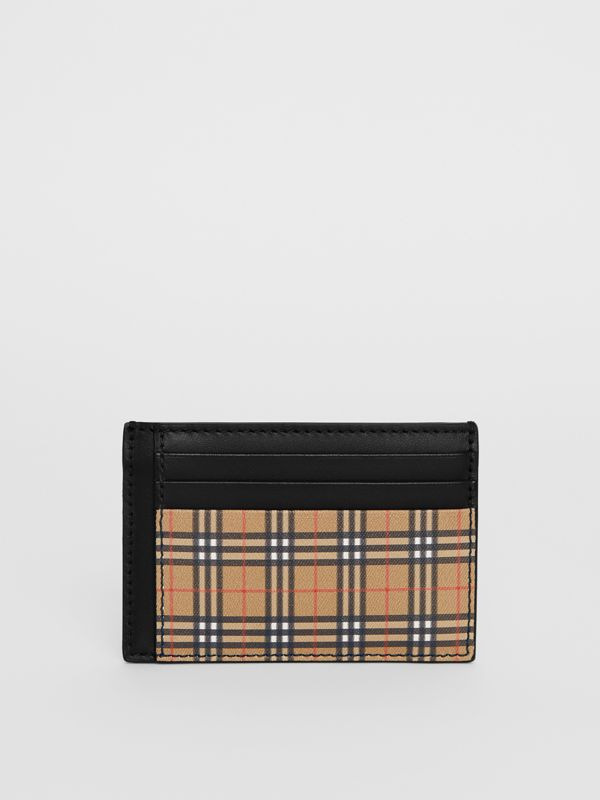 Small Scale Check and Leather Money Clip Card Case in Antique Yellow/black - Men | Burberry - cell image 2