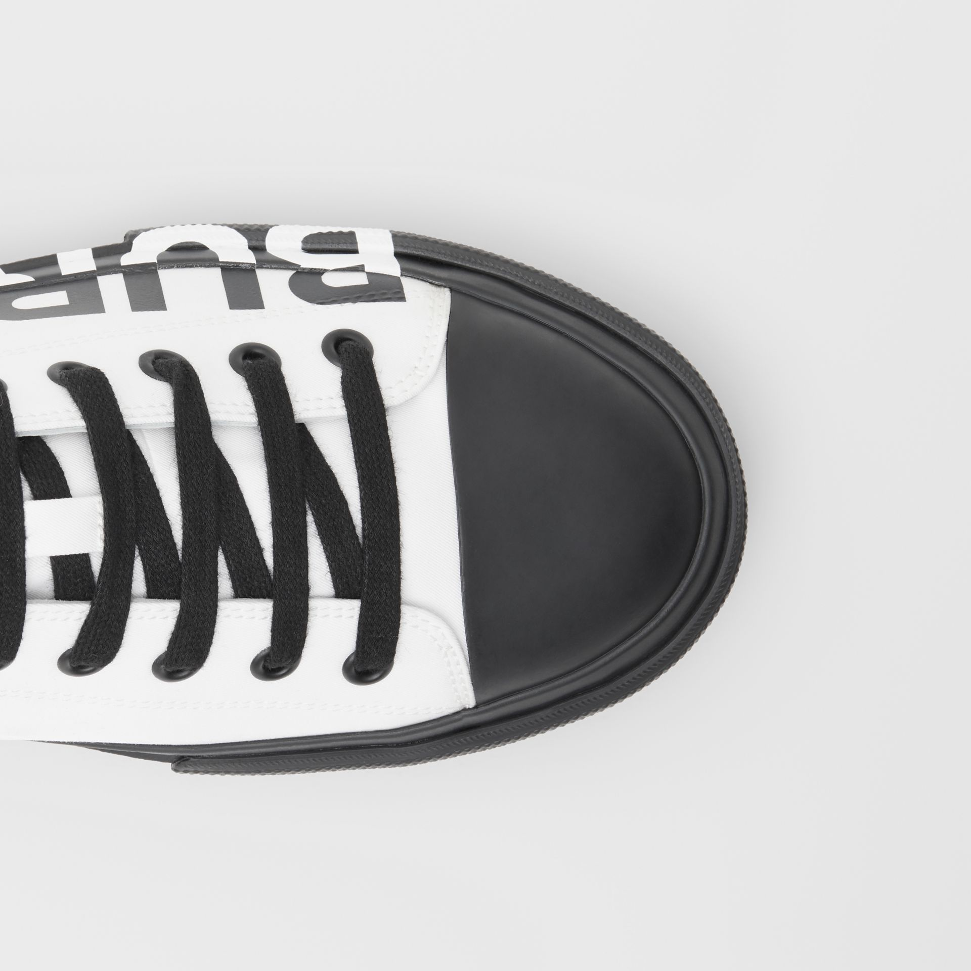 Logo Print Two-tone Cotton Gabardine Sneakers in Optic White/black - Women | Burberry - gallery image 1
