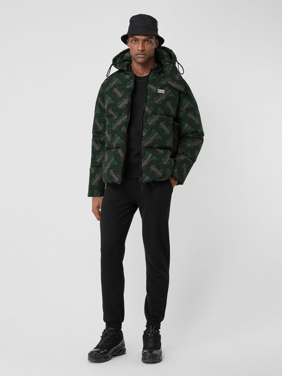 Monogram Print Oversized Puffer Jacket in Forest Green