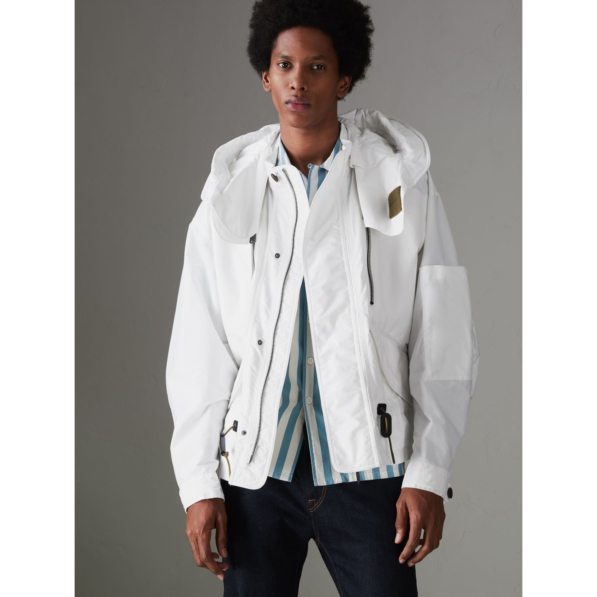 Detachable Hood Faille Jacket in White - Men | Burberry - gallery image 5