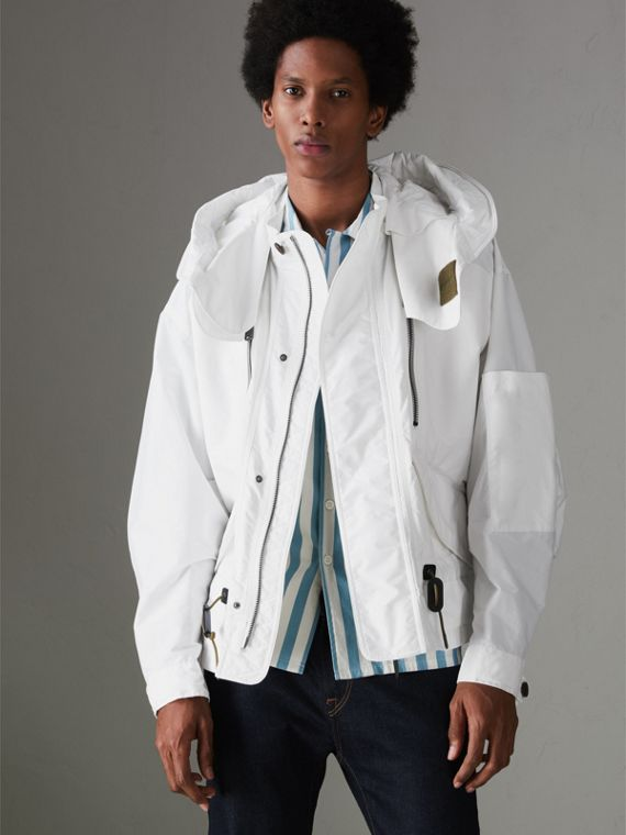 Detachable Hood Faille Jacket in White