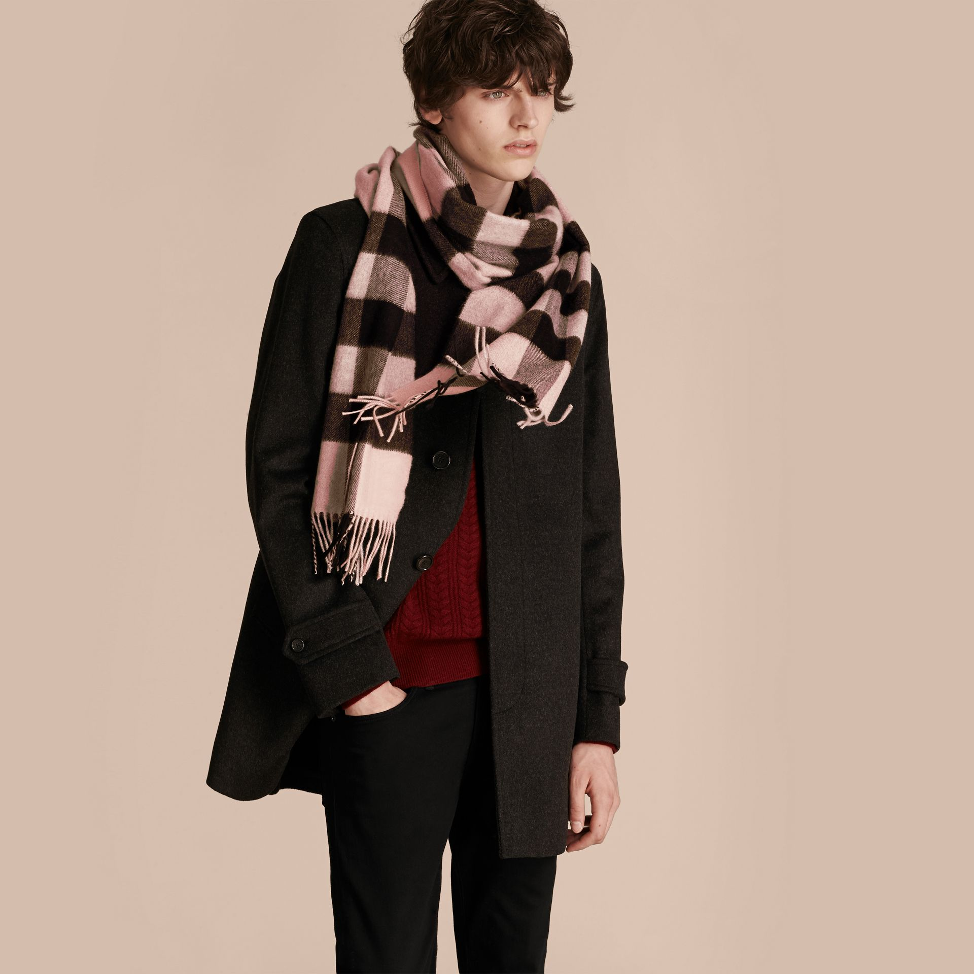 The Large Classic Cashmere Scarf in Check Rose - gallery image 4