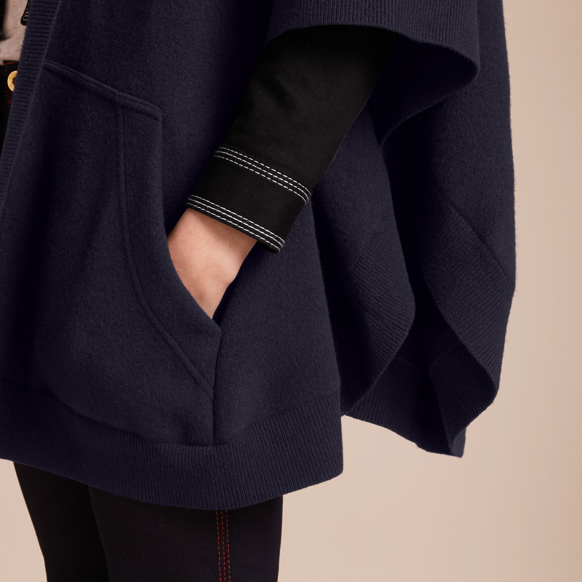 Wool Cashmere Blend Hooded Poncho in Navy/black - Women | Burberry - gallery image 5