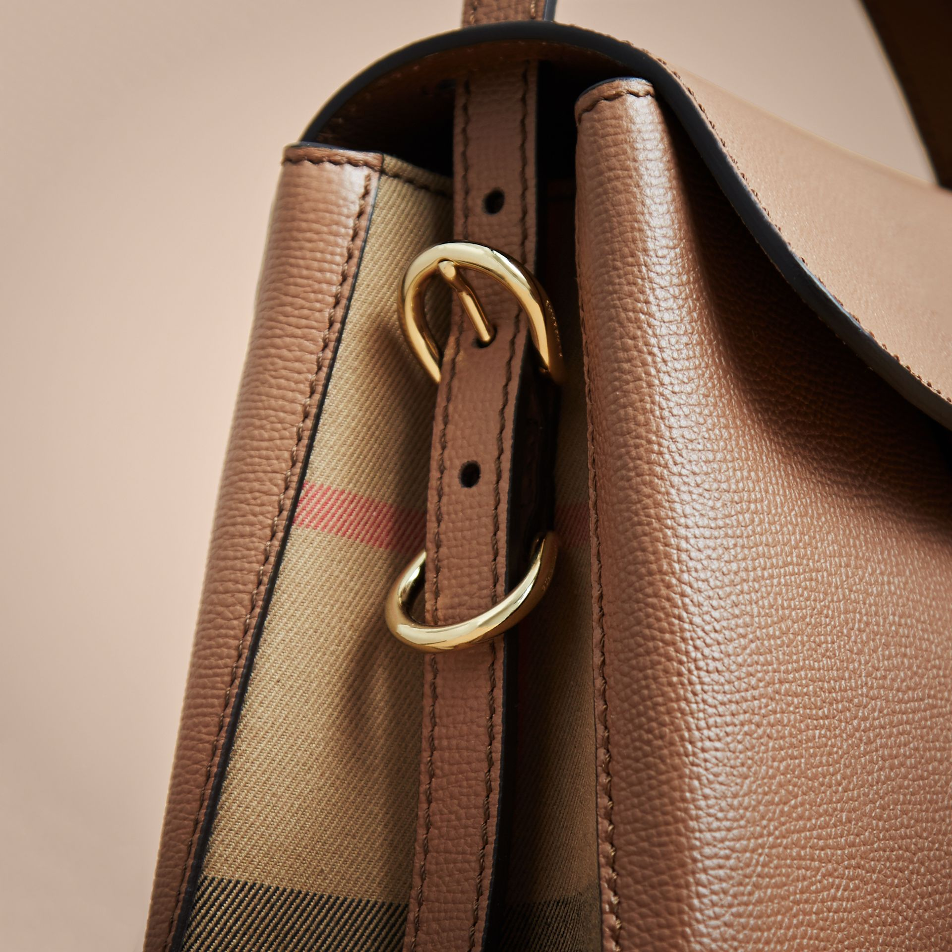 Small Grainy Leather and House Check Tote Bag in Dark Sand - Women | Burberry - gallery image 5