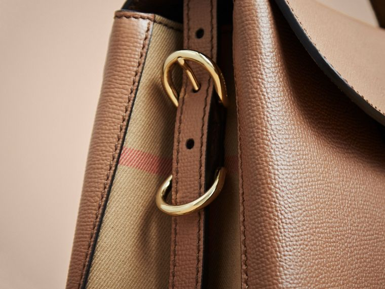 Small Grainy Leather and House Check Tote Bag in Dark Sand - Women | Burberry - cell image 4
