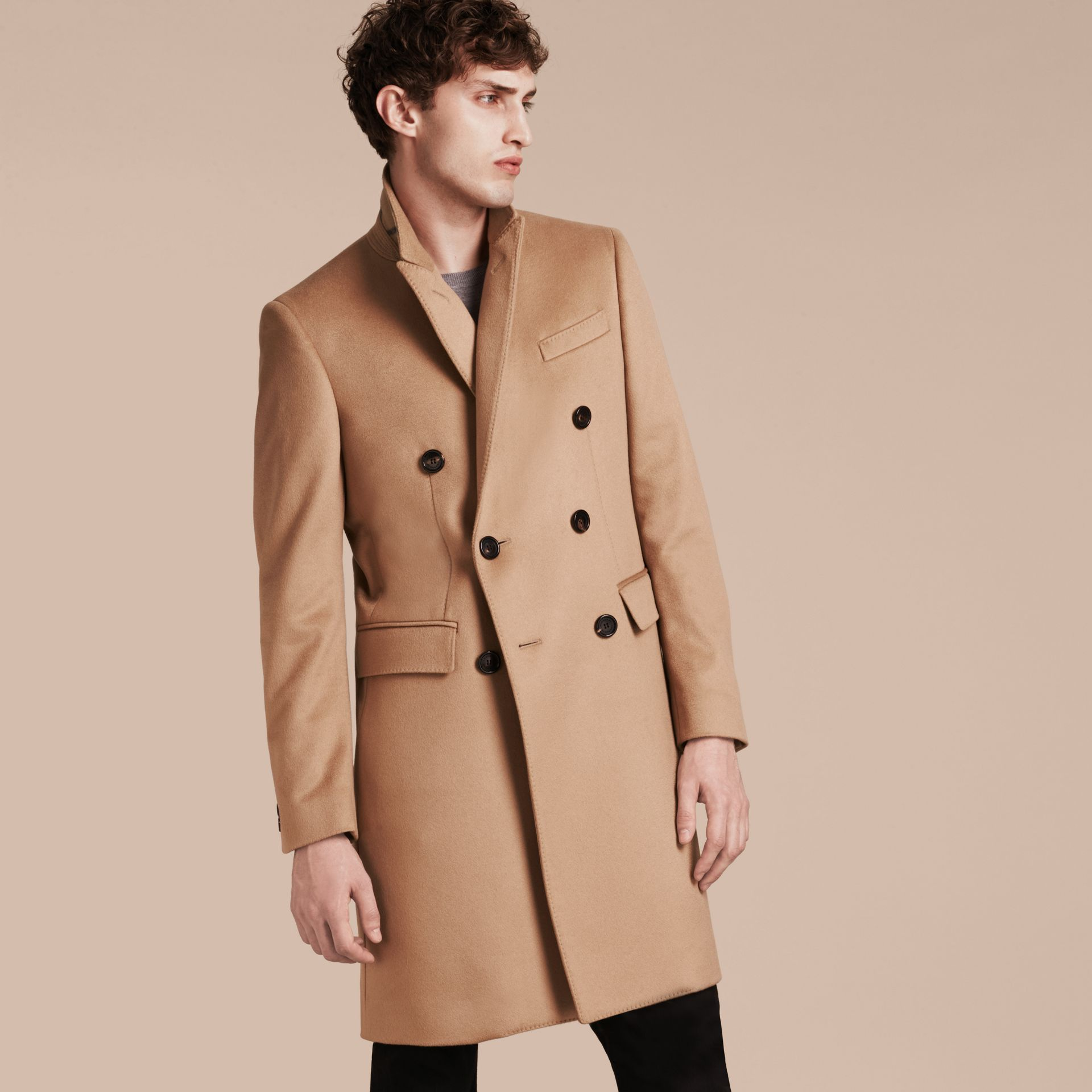 Camel Double-breasted Tailored Cashmere Coat - gallery image 7