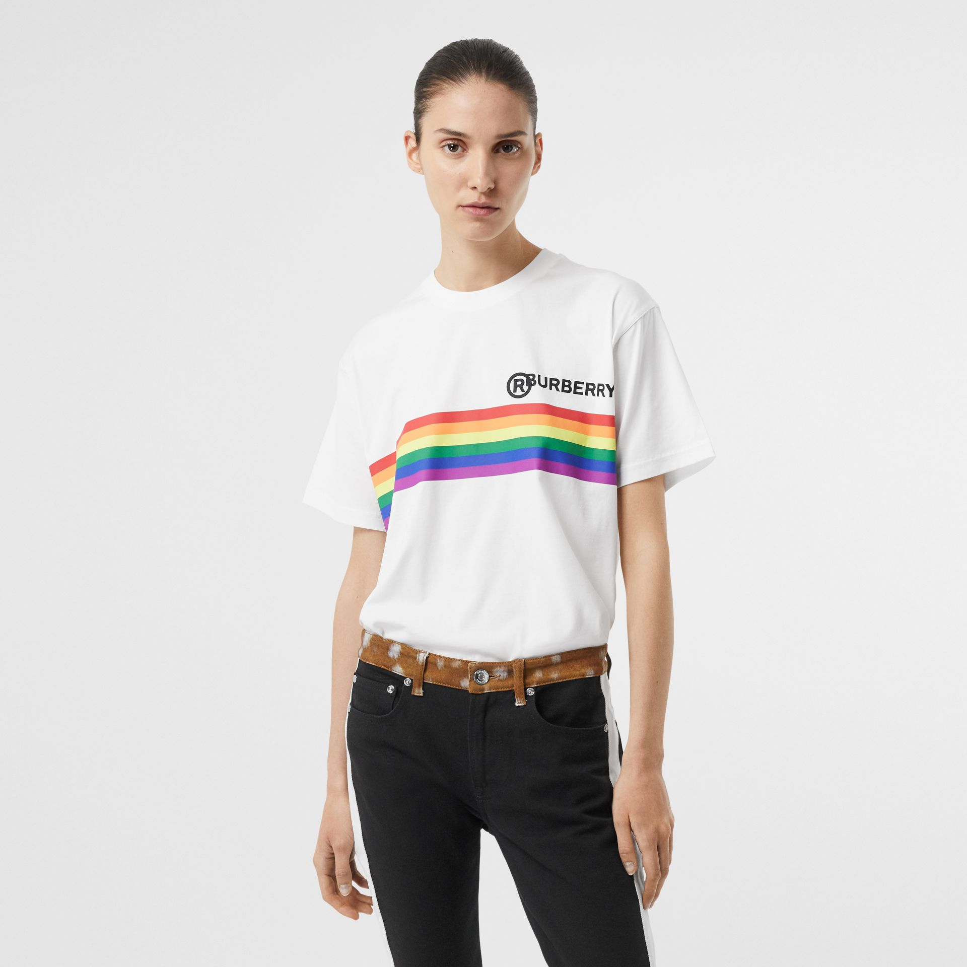 Rainbow Stripe Print Cotton Oversized T-shirt in White - Women | Burberry - gallery image 4