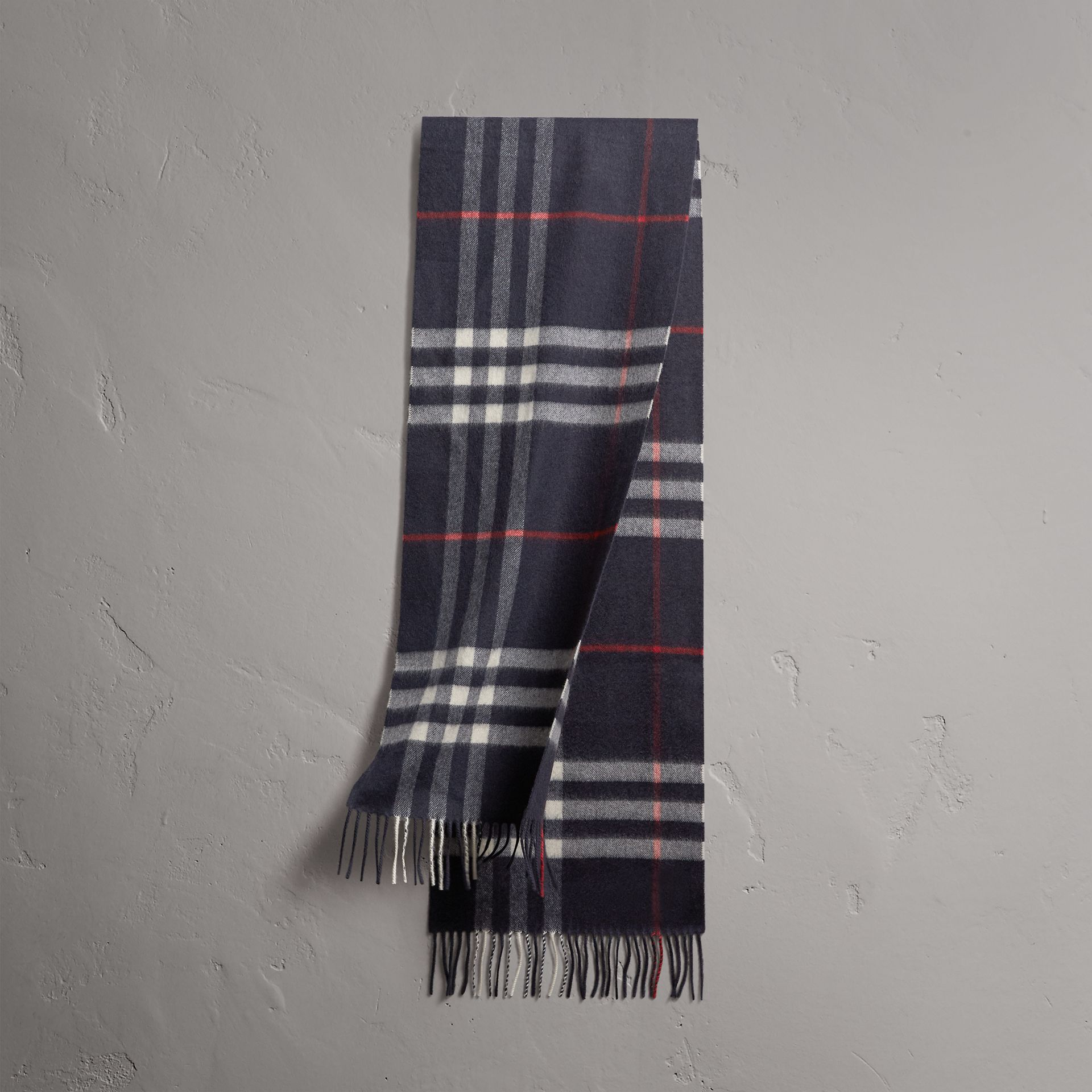 The Classic Check Cashmere Scarf in Navy | Burberry United Kingdom - gallery image 0