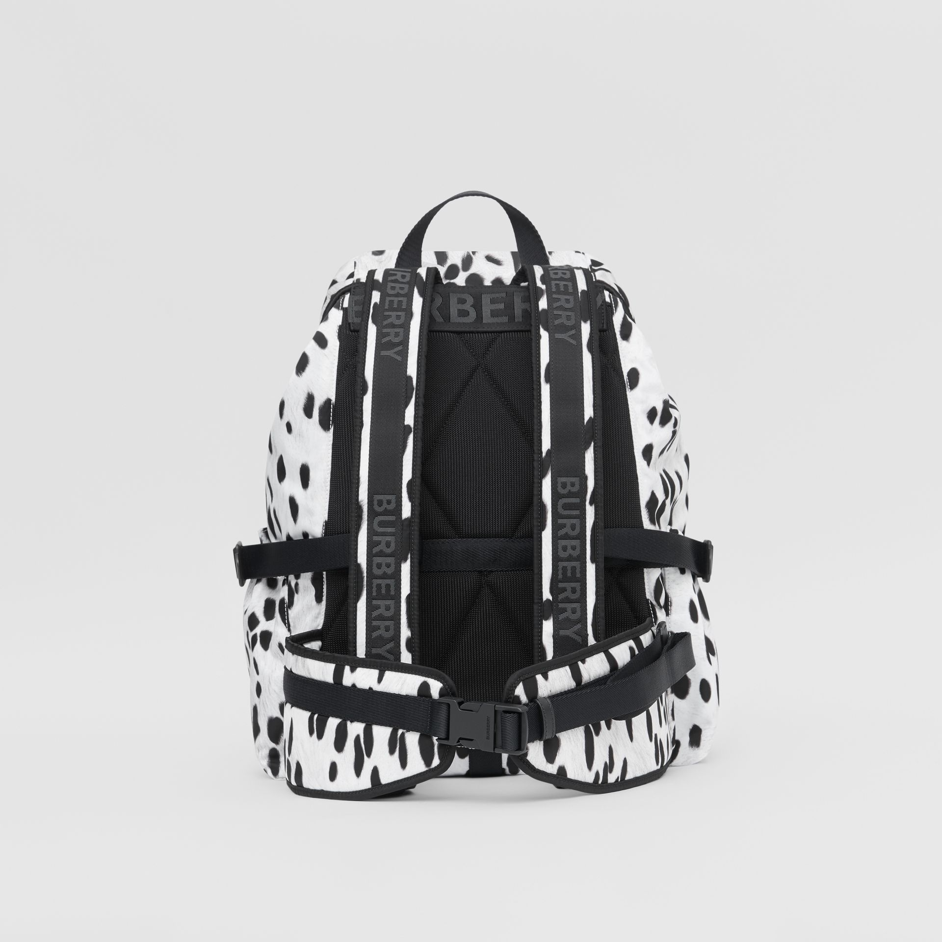 Logo and Dalmatian Print Nylon Backpack in Black - Women | Burberry United Kingdom - gallery image 7