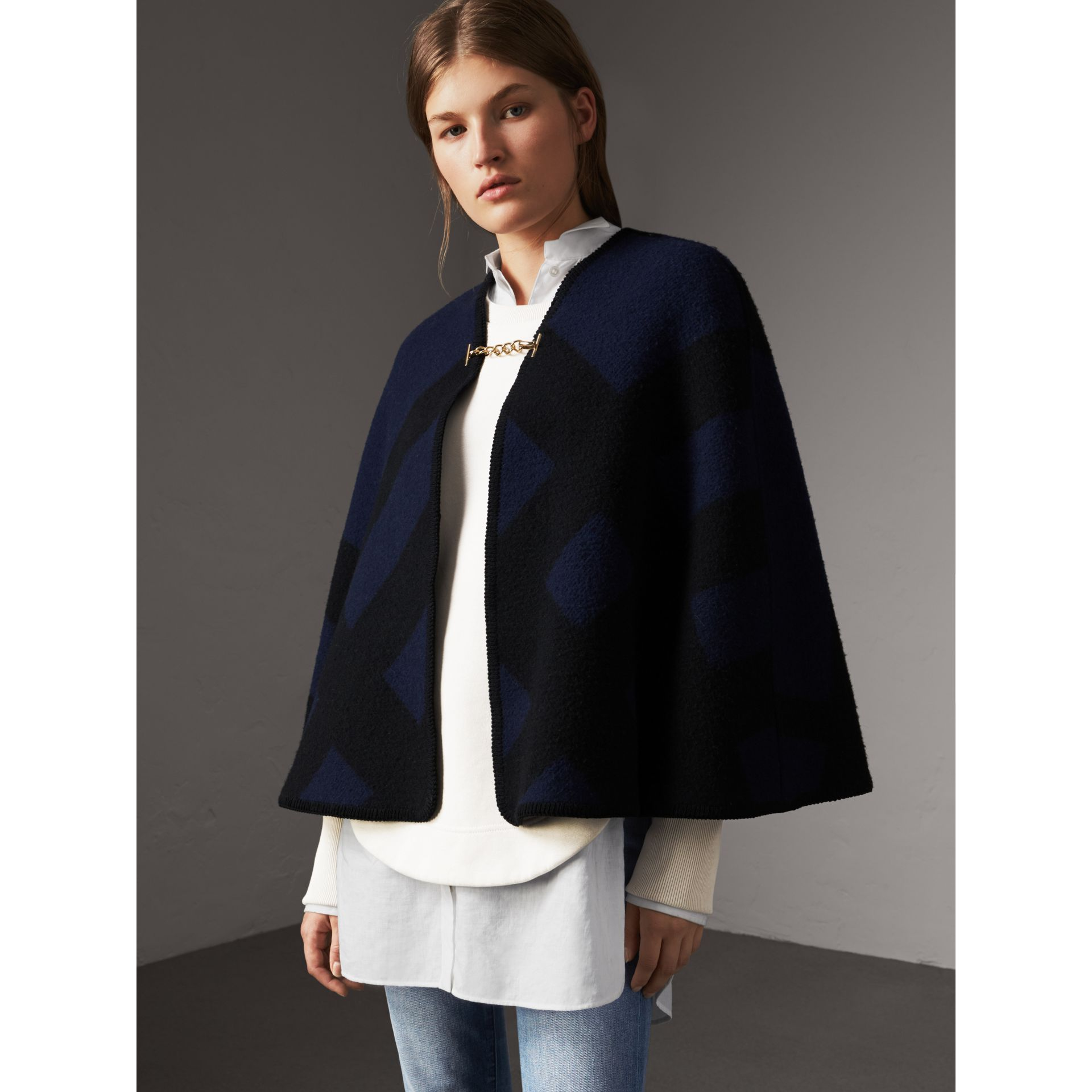 Check Wool Cashmere Blanket Cape in Navy - Women | Burberry - gallery image 5