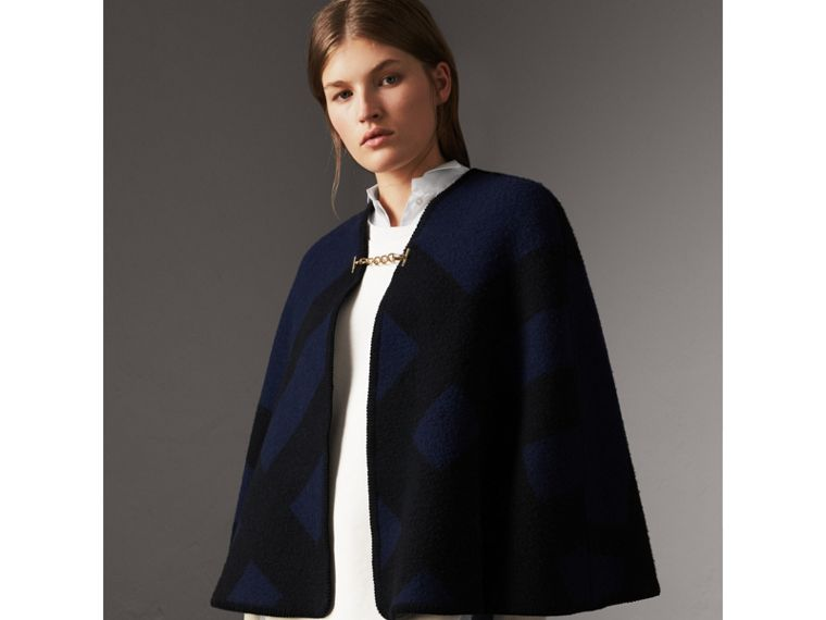 Check Wool Cashmere Blanket Cape in Navy - Women | Burberry - cell image 4