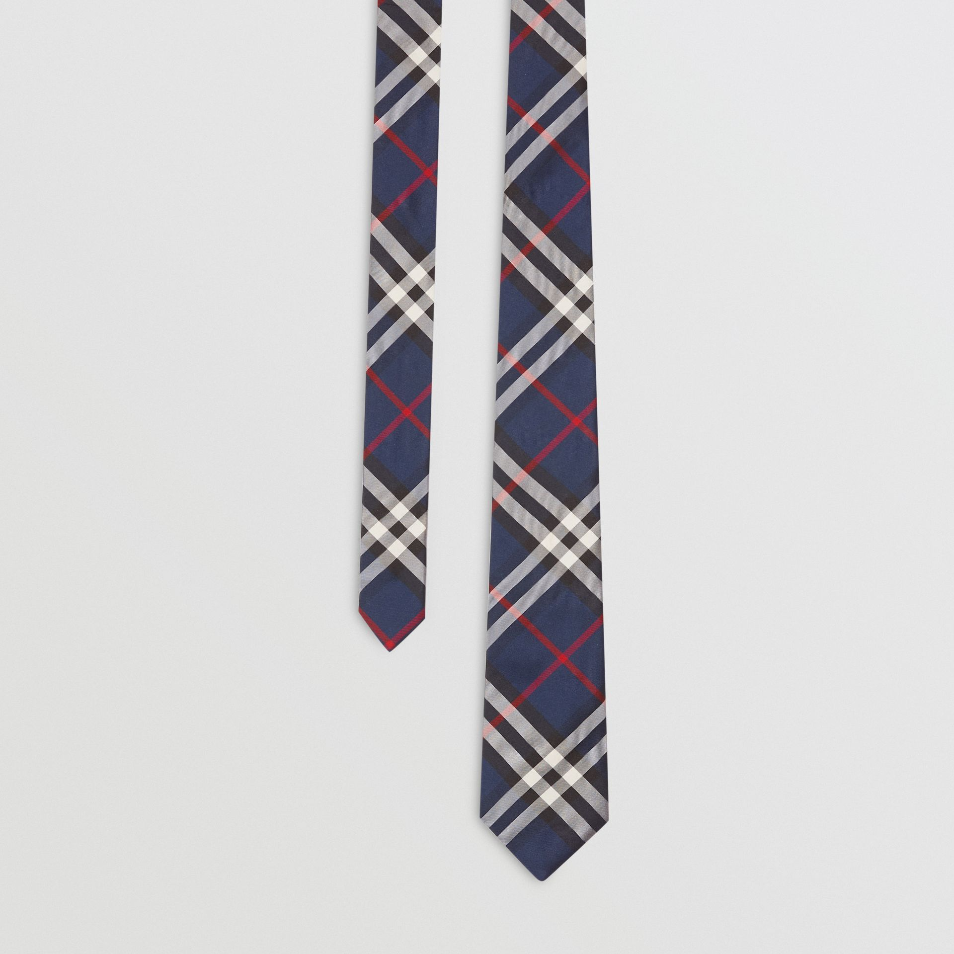 Modern Cut Vintage Check Silk Tie in Navy - Men | Burberry Australia - gallery image 0