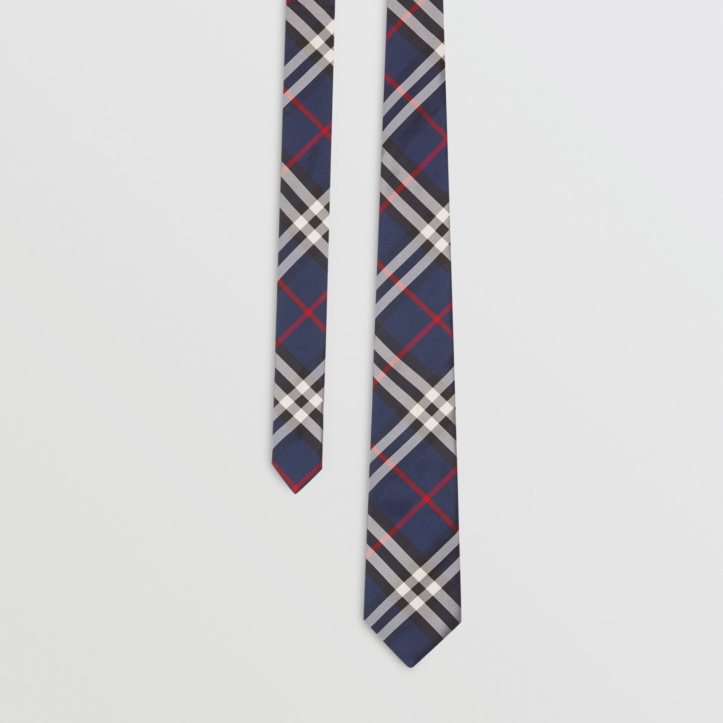 Classic Cut Vintage Check Silk Tie in Navy - Men | Burberry - 1