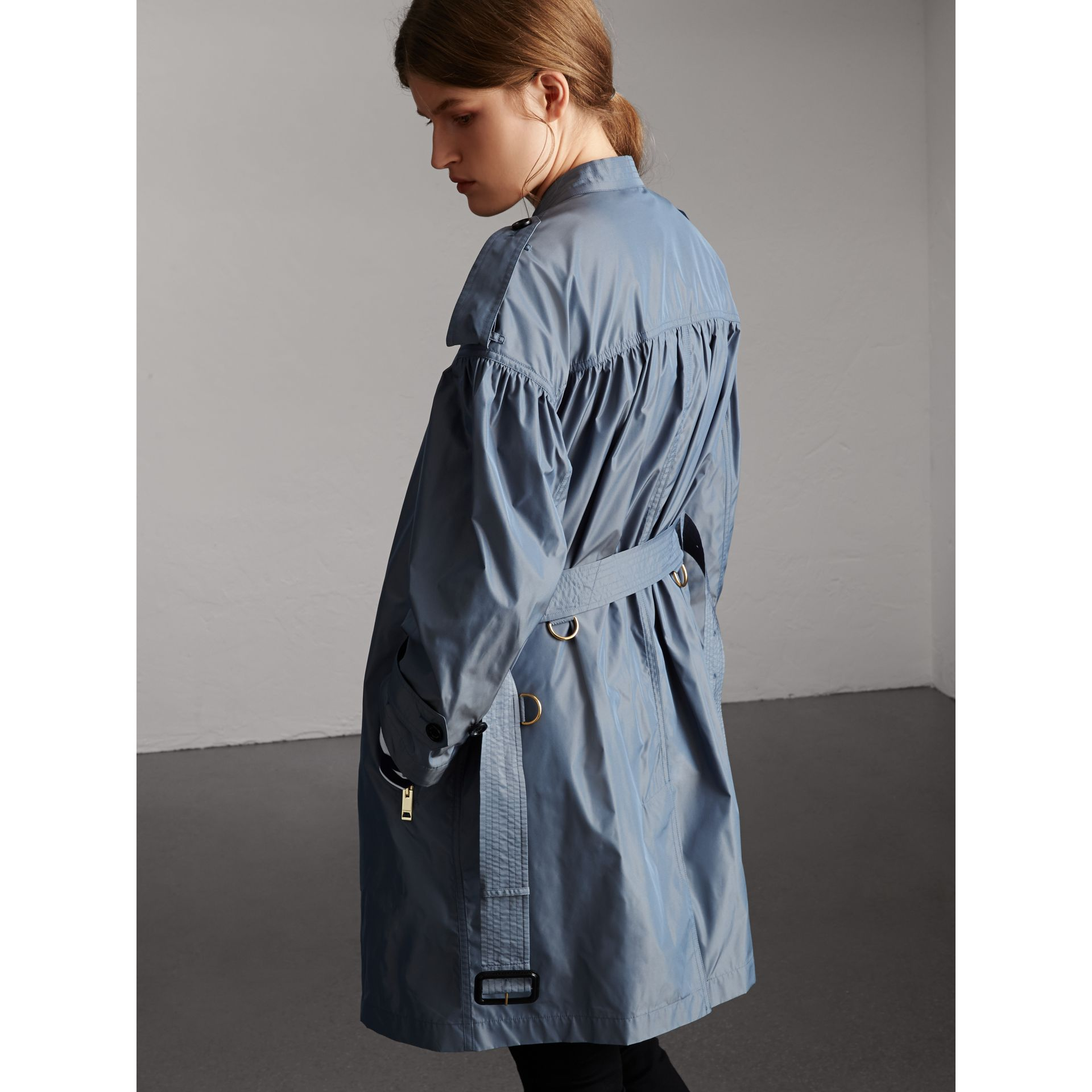 Lightweight Ruched Coat in Stone Blue - Women | Burberry - gallery image 3