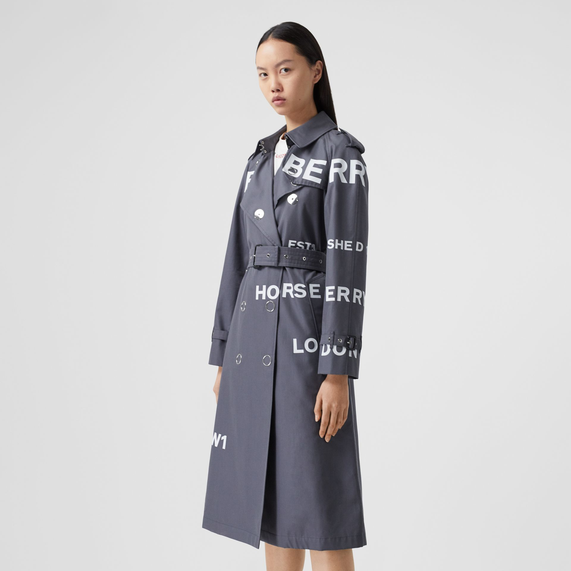 Horseferry Print Cotton Gabardine Trench Coat in Mid Grey - Women | Burberry Hong Kong S.A.R - gallery image 6