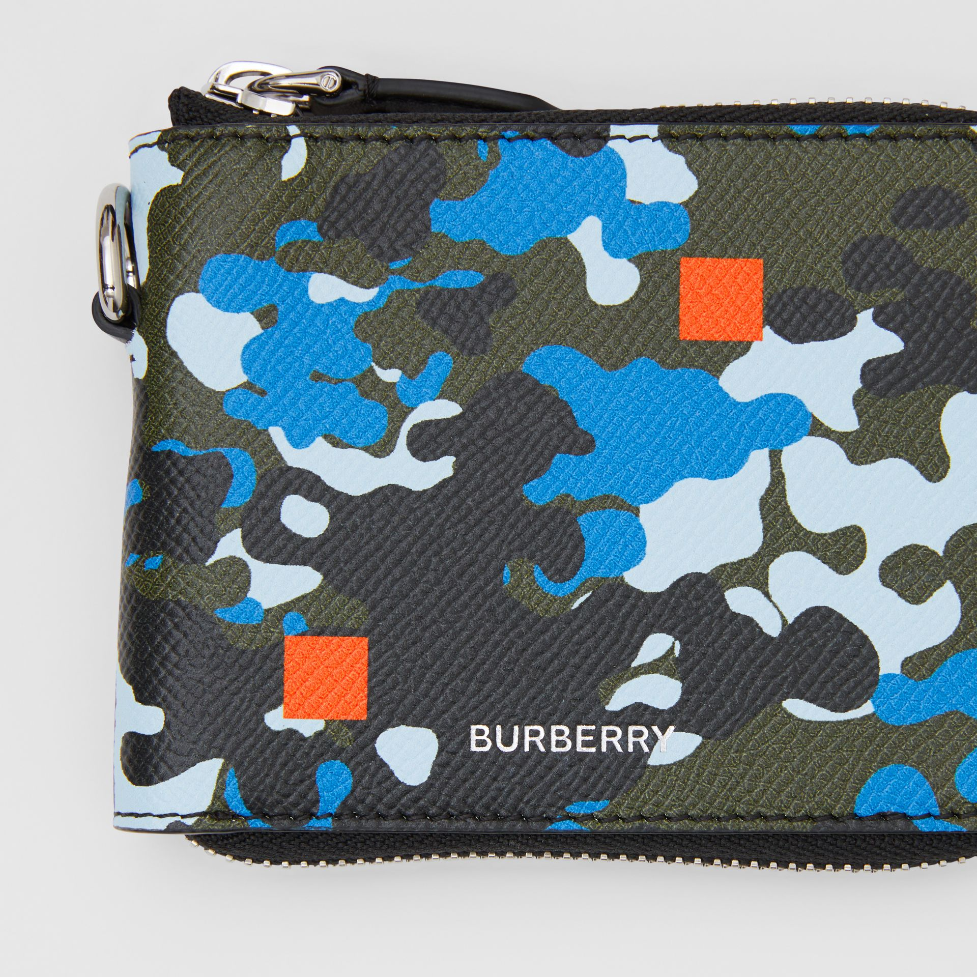 Camouflage Print Grainy Leather Ziparound Wallet in Blue - Men | Burberry United Kingdom - gallery image 1