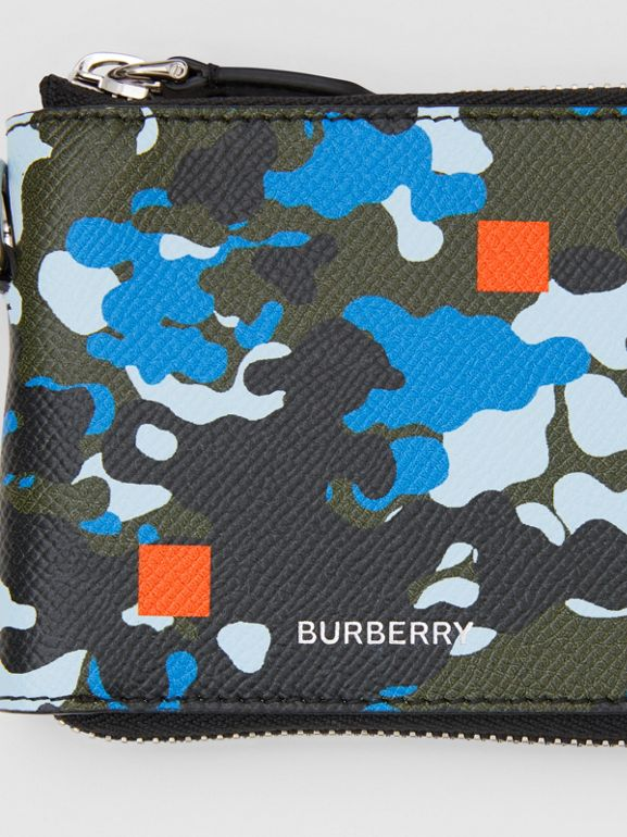 Camouflage Print Grainy Leather Ziparound Wallet in Blue - Men | Burberry United Kingdom - cell image 1