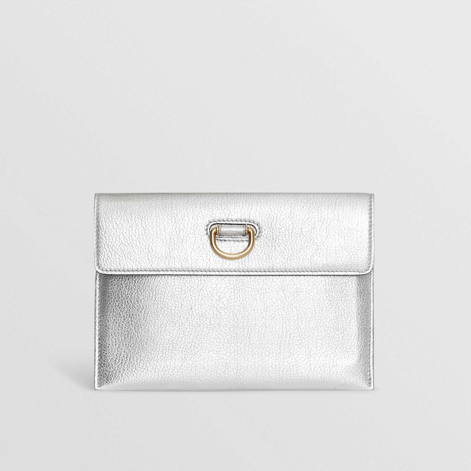 D-ring Metallic Leather Pouch with Zip Coin Case in Silver - Women | Burberry - gallery image 0