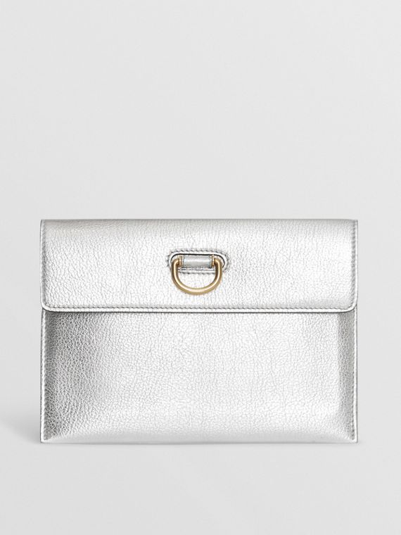 D-ring Metallic Leather Pouch with Zip Coin Case in Silver