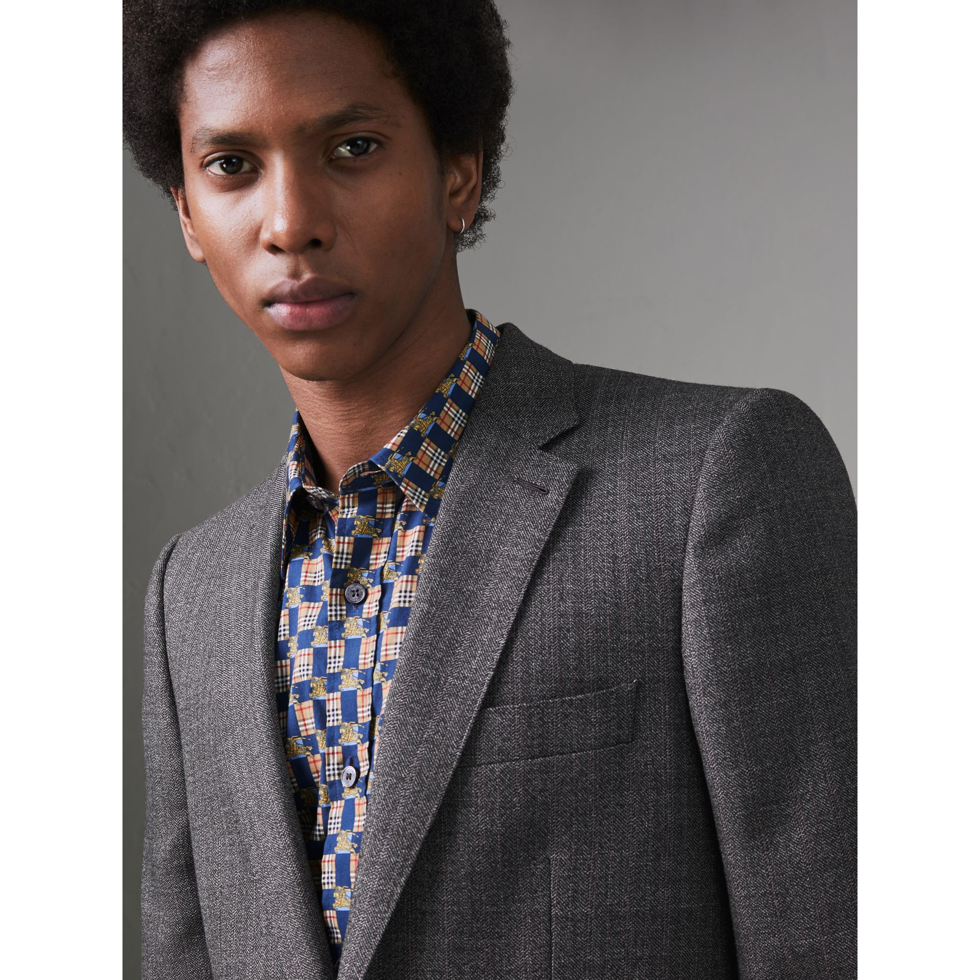 Slim Fit English Pinstripe Wool Suit in Mid Grey Melange - Men | Burberry Canada - gallery image 1