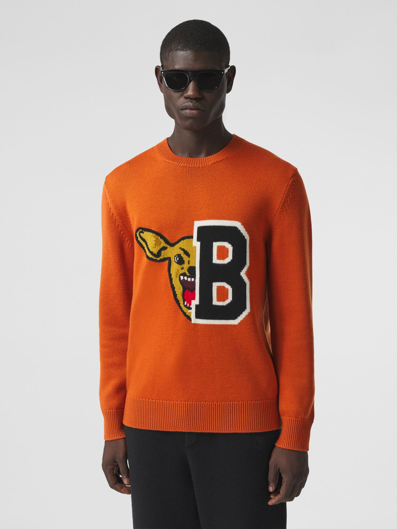 Varsity Graphic Merino Wool Jacquard Sweater in Burnt Orange